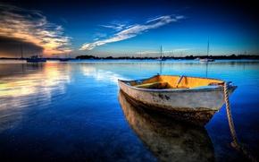 Обои море, лодка, пейзаж