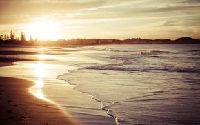 Обои пляж, песок, волны, небо, солнце, свет