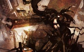 Картинка девушка, оружие, дым, аниме, арт, цепи, black rock shooter, insane black rock shooter, hanyijie