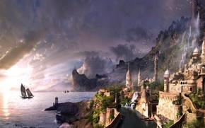 Картинка море, тучи, город, водопад, парусник