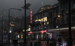 Обои улица, магазины, sci-fi, фантастика, люди, транспорт