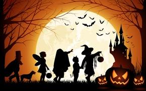 Картинка Halloween, Moon, Pumpkin, Castle, Men And Dog, Bats, Trees