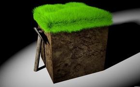 Картинка трава, рендеринг, куб, кирка, Minecraft