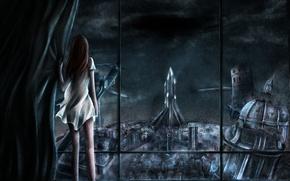 Картинка девушка, ночь, город, окно, арт, руины, спиной, xilveroxas