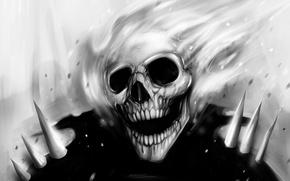 Картинка fire, skull, black and white