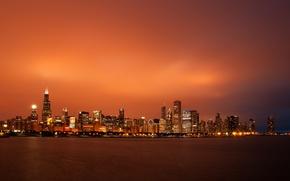 Обои небо, закат, небоскребы, вечер, Чикаго, USA, Chicago, мегаполис, illinois