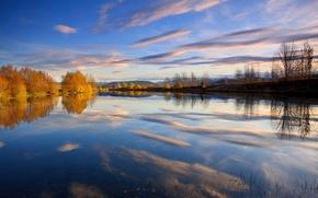 Картинка небо, облака, деревья, озеро, отражение