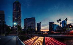 Картинка дорога, ночь, огни, вечер, выдержка, Калифорния, США, Los Angeles