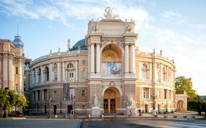Картинка улица, здание, площадь, театр, Украина, Ukraine, Одесса, Odessa, National Academic Theatre of Opera