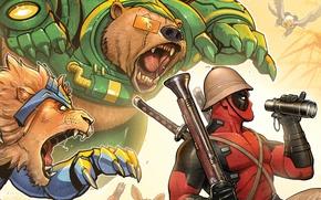 Картинка красный, звери, лев, медведь, бинокль, ружье, Deadpool, Дэдпул, катаны, comics, MARVEL, Уэйд Уилсон