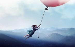 Обои ситуация, шар, полёт, девушка