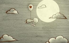 Обои облака, луна, сердце, фонарик, deviantart, в поисках любви, BlackJack0919
