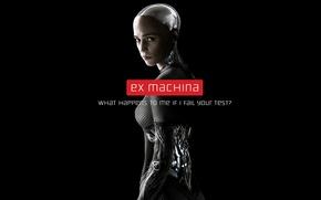 Картинка фантастика, робот, черный фон, постер, Ava, Алисия Викандер, Alicia Vikander, Из машины, Ex Machina