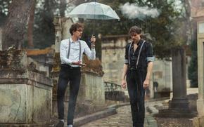 Картинка дождь, зонт, мужчины, тучка, Need help?
