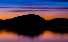 Картинка twilight, mountains, lake, evening, dusk, reflection, blue hour, antenna