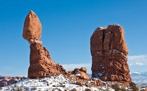 Обои камни, снег, зима, скалы, небо, трава, nature, пейзаж, landscape
