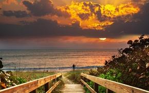 Картинка небо, пейзаж, закат, мостик, человек. удочка. рыбалка