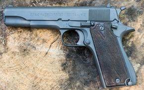 Картинка пистолет, оружие, фон, самозарядный, Star SA