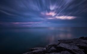 Картинка небо, закат, тучи, озеро, камни, берег, вечер, Канада, Онтарио, сумерки, Гурон