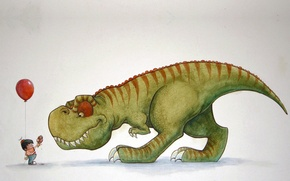 Картинка динозавр, мальчик, малыш, арт, мороженое, тирекс, угощение