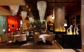 Картинка фото, стол, стулья, интерьер, люстра, ресторан