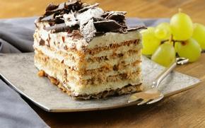 Картинка белый, ягоды, шоколад, тарелка, виноград, торт, пирожное, вилка, крем, десерт, сладкое, бисквит