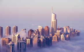 Картинка облака, здания, Дубай, Dubai, небоскрёбы, ОАЭ, UAE, Джумейра Лэйкс Тауэрс, Jumeirah Lakes Towers