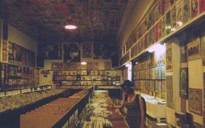 Картинка girl, store, vinyl records