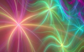 Картинка звезды, лучи, линии, абстракция, обои, рисунок, фрактал, пушинки