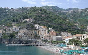 Картинка море, пляж, горы, город, дома, Италия, Минори