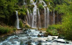Обои Хорватия, водопад, Plitvice National Park, скала, лес, ручей, течение, камни
