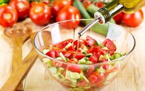 Обои масло, лук, помидоры, огурцы, салат