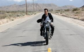 Картинка дорога, костюм, мотоцикл, актер, мужчина, парень, езда, Тейлор Китч, Taylor Kitsch