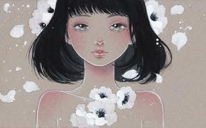 Картинка девушка, цветы, лицо, рисунок, art, Victoria-Rivero