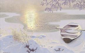Картинка зима, вода, солнце, снег, лёд, Gustaf Fjaestad, берег. лодка