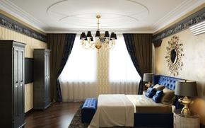 Картинка мебель, кровать, зеркало, окно, люстра, спальня