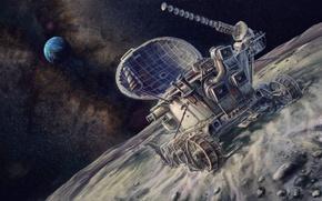 Картинка космос, картина, арт, СССР, живопись, painting, высадка на луну, луноход, Земля.