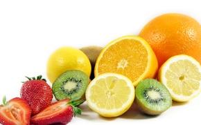 Обои лимон, киви, апельсин, фрукты, банан, клубника