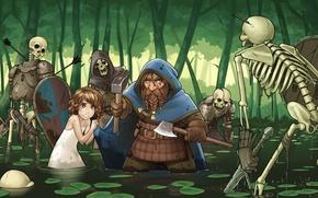 Картинка лес, скелет, девочка, топор, гном, защитник, фэнте