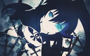 Картинка аниме, арт, девочка, цепи, black rock shooter, светящийся глаз