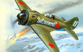 Картинка самолет, истребитель, арт, СССР, ВВС, ВОВ, ОКБ, созданный, И-16, советский, ишачок, поршневой, одномоторный, WW2., прозвище, …