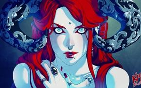 Обои взгляд, пирсинг, арт, демоница, кольцо, узоры, рога, фантастика