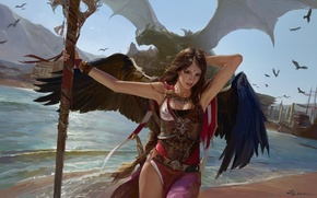 Картинка корабль, крылья, арт, порт, дракон, птицы, девушка, посох, гавань