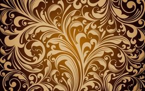 Картинка фон, golden, орнамент, vintage, texture, цветочный, pattern, floral