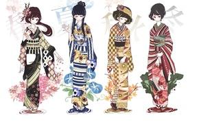 Картинка времена года, девочки, аниме, арт, кимоно