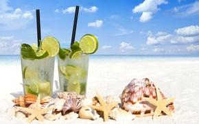 Картинка море, пляж, ракушки, beach, drink, mojito, cocktail, lime, мохито, seashells