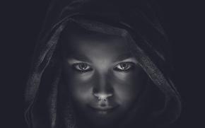 Картинка девушка, пирсинг, капюшон, Darkness