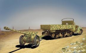 Картинка война, рисунок, Ford, грузовик, пушка, WW2, противотанковая, Maultier, Pak 36, V3000