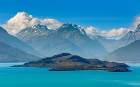 Картинка mountain, island, new zealand, lake wakatipu