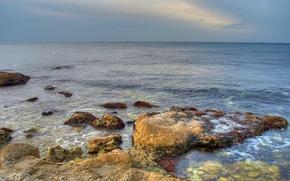 Обои Море, горизонт, камни